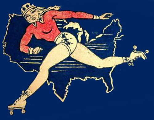 Drawing of a roller derby skater in red, white and blue in front of a map of the USA