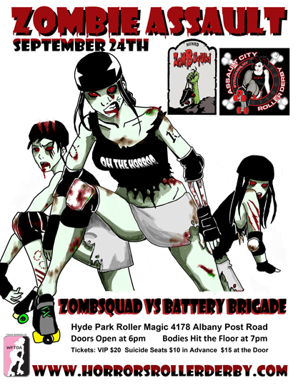 Three roller derby girls with dripping blood and Zombie Assault text