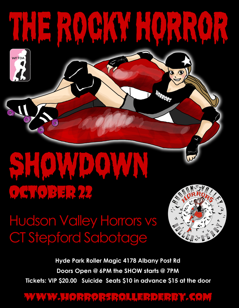Bout Flyer for Connecticut vs Hudson Valley Horrors Roller Derby