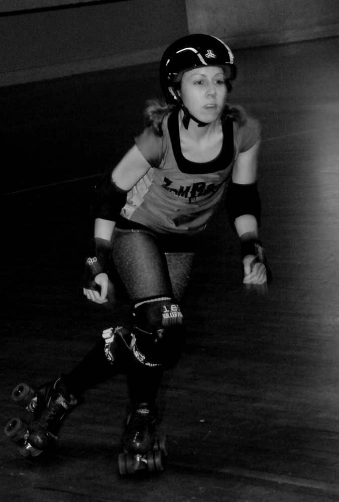 Honey Punches 'nd Gloats Roller Derby Skater Action Shot