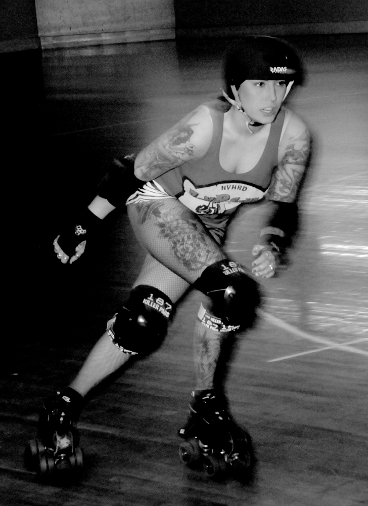 Kaptain Punch Roller Derby Skater Action Shot