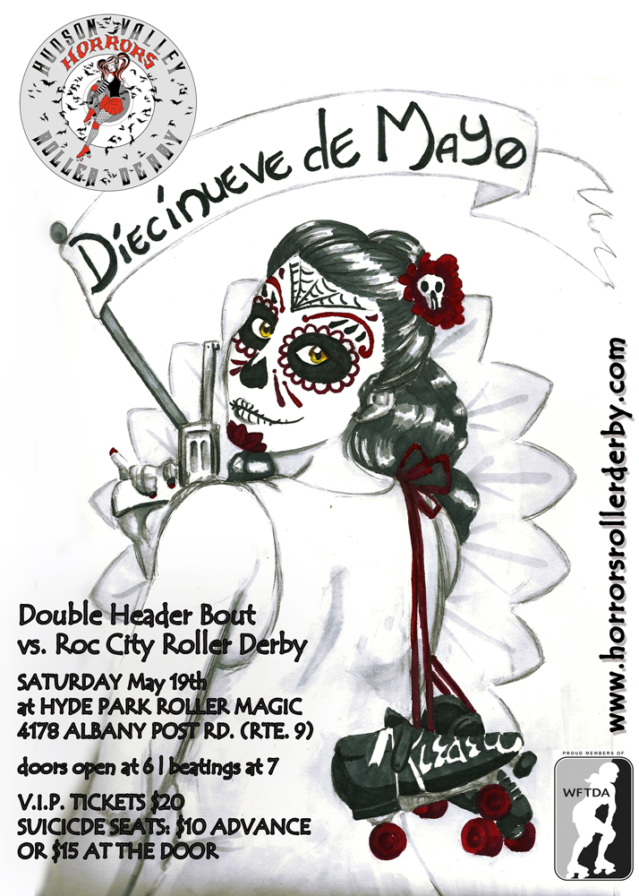 Diecinueve de May Roller Derby Bout Flyer May 19th, 2012