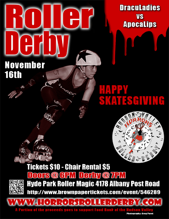Hudson Valley Horors Happy Skatesgiving 11-16-14 Bout Flyer