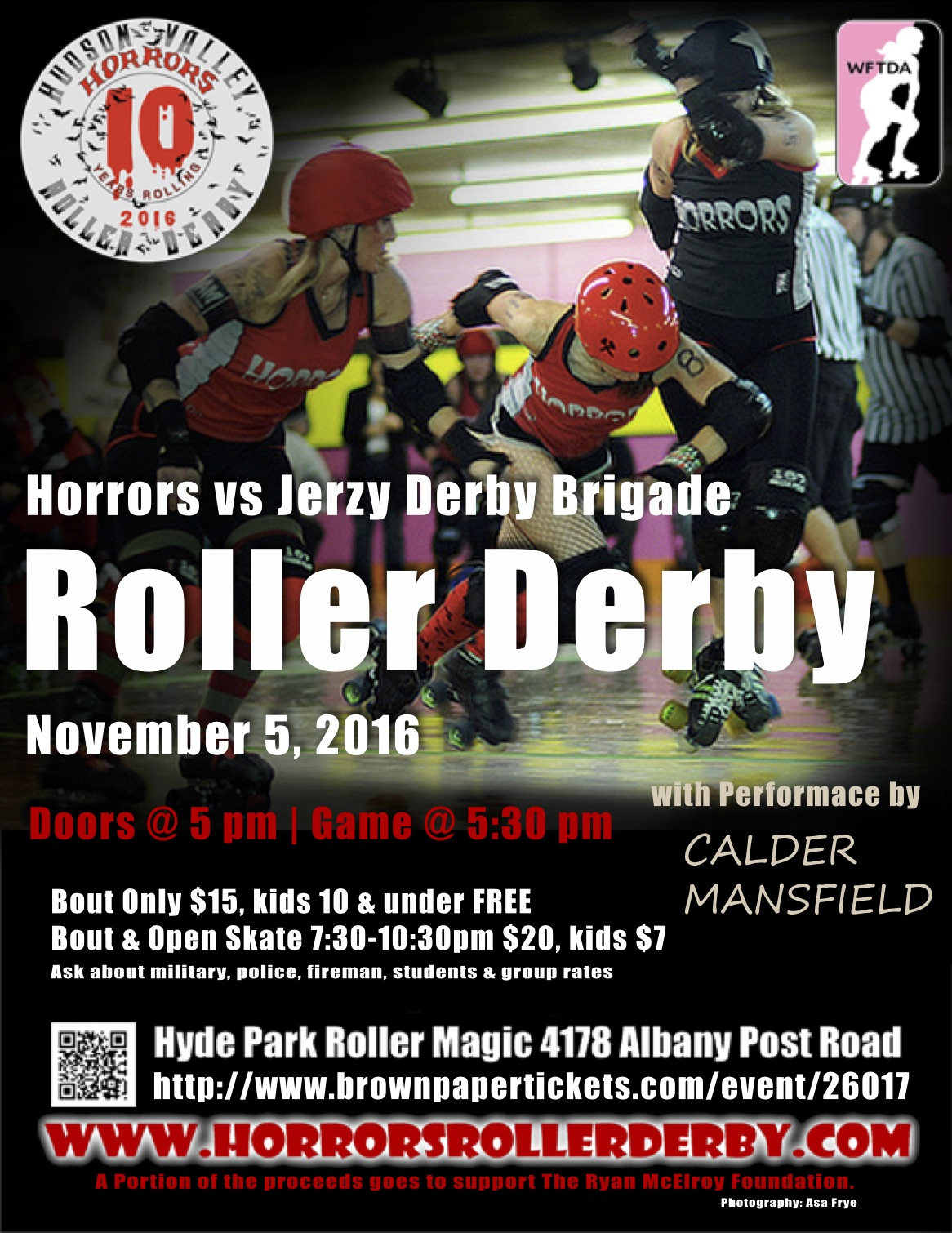 Flyer for Horrors Roller Derby Bout November 5th 2016